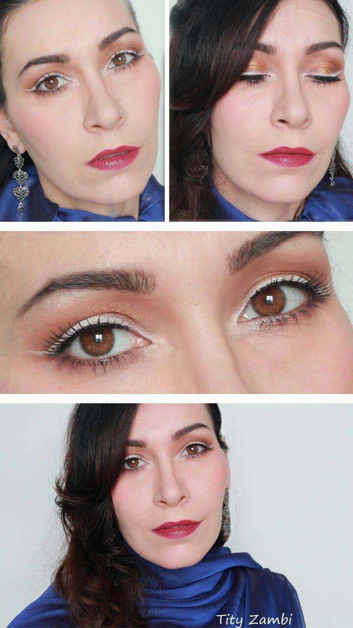 Make-up sera elegante con eyeliner bianco e rossetto rosso #trucco #makeup #truccoelegante