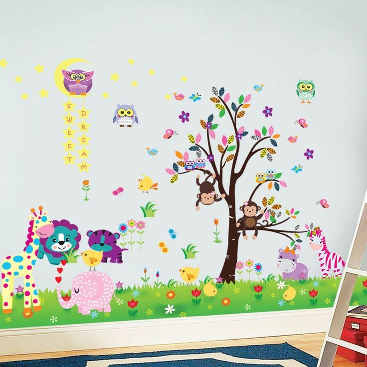 Walplus - 3 set di adesivi da parete per cameretta dei bambini: mod. DF5099 (Happy Animals), mod. WS3026 (Owl Tree Star), mod. AY763 (Little Chick Grass), multicolore: Amazon.it: Casa e cucina