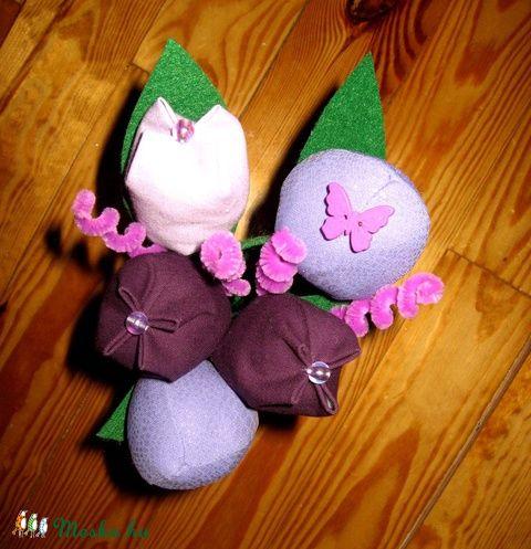 Meska - Tulipán csokor textilből - lila eszterszemek kézművestől
