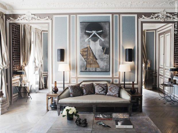 A Parigi in un appartamento in stile squisitamente parisienne: charme francese e preziosità dall'Asia: il designer Christopher Noto sceglie la libertà espressiva