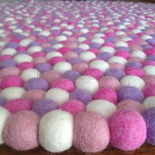Marshmallow Original Mimosa Design 100% Wool Felt Ball Rugs Kids Nursery Carpet