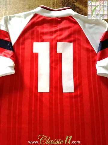 dee09e2710d Official Adidas Arsenal home football shirt from the 1992 93 season.
