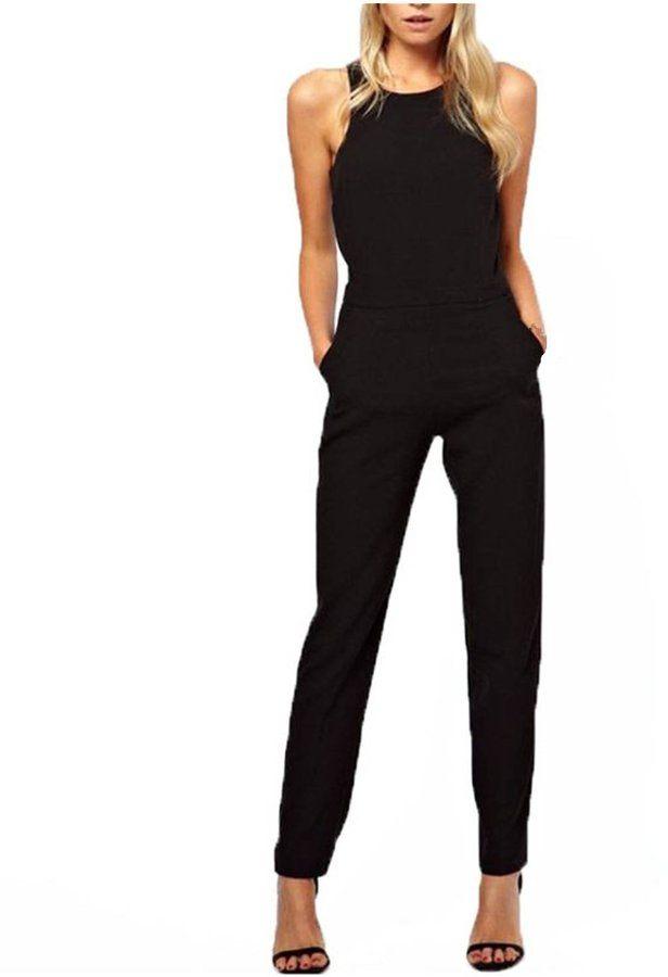 zanzea women casual elegant sleeveless halter neck jumpsuit rompers trousers black us 10. Black Bedroom Furniture Sets. Home Design Ideas