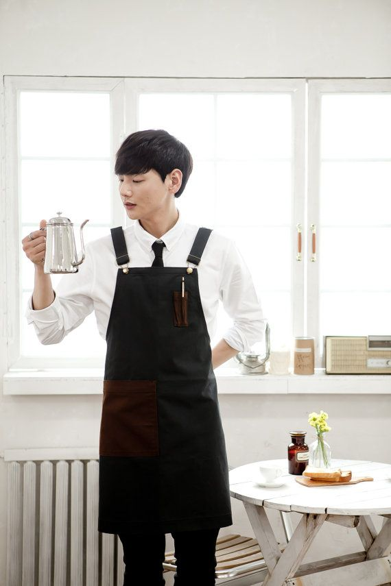 Denim Pencil pocket dark gray unisex apron,cafe apron,coffee apron,restaurant apron