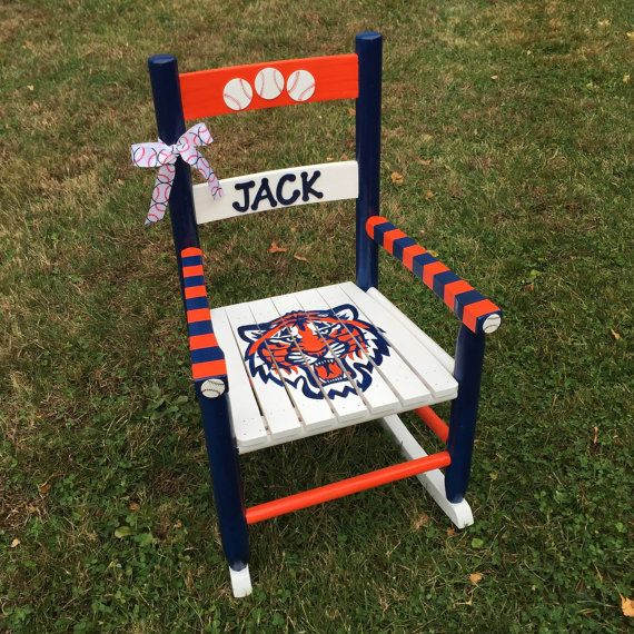 Hand-Painted Kids Rocking Chair, Nursery Decor, Children's Decor, Sports Themed Rocking Chair, Detroit Tigers Decor, Sports Theme Nursery