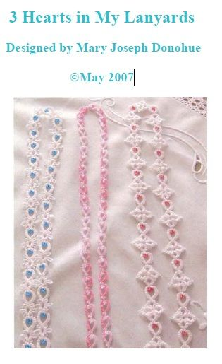 3 Hearts in My Lanyards  by Mary Joseph Donohue - Free pattern pdf #tatting #jewelry necklace