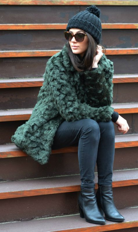 Try wearing the faux fur trend oversized to get those extra cosy winter vibes. Mary Josephine wears an emerald green coat with skinny black jeans and a matching beanie; a classic winter look.   Sweater: Brandy & Melville, Jeans: River Island, Beanie: Primark, Boots: Sacha, Sunglasses: Fendi....   Style Inspiration