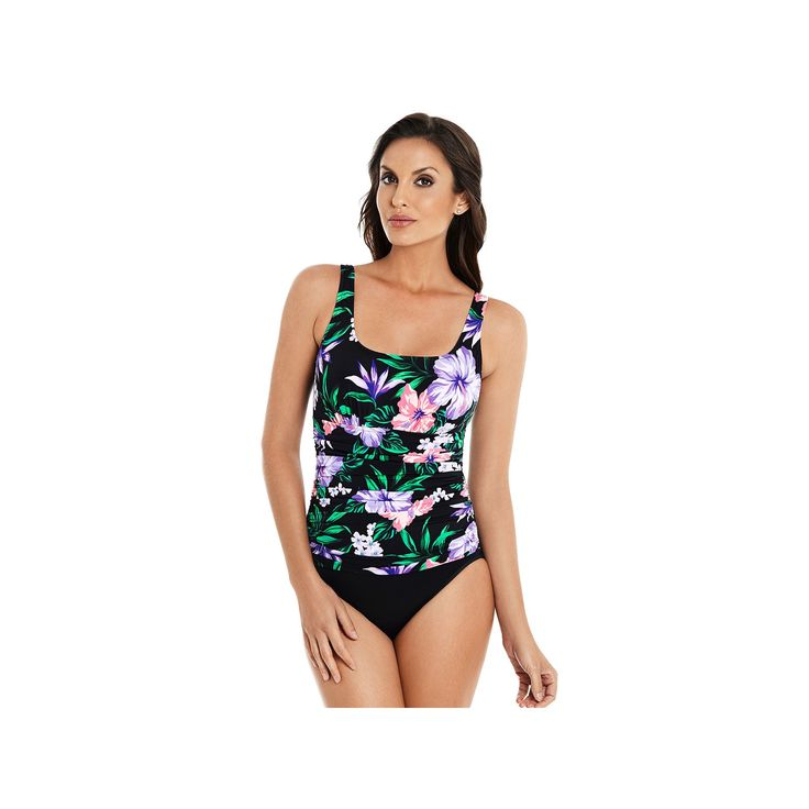 Women's Croft & Barrow® Body Sculptor Control Ruched One-Piece Swimsuit, Size: 14, Ovrfl Oth