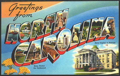 North Carolina 1950s Large Letter Greetings from North Carolina State Vintage Postcard