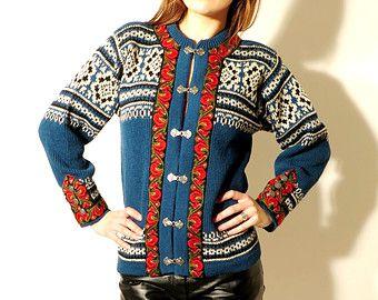 Vintage Nordstrikk Norwegian Blue Wool Cardigan Size 48