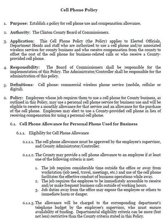 company cell phone policy pdf