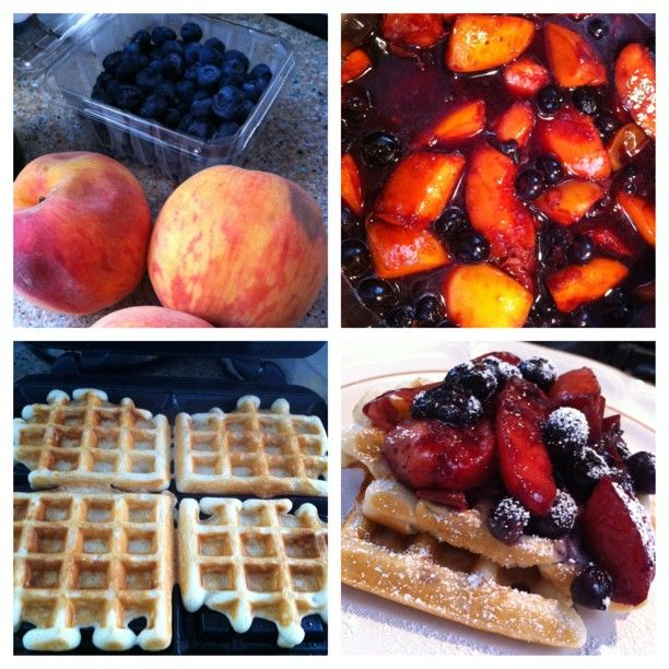 picstitch #waffles #peach #blueberry #buckwheathoney #sauce # ...
