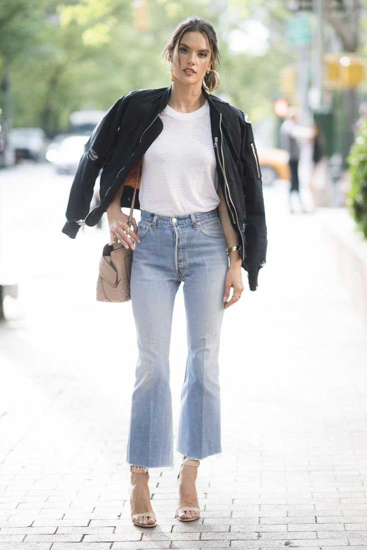 WITH YOUR GO-TOS The most wonderful thing about bootcut jeans is that they'll look good with practically anything. You already live in a bomber jacket and white tee, so pair them with cropped bootcut jeans and heels for a quick and easy look.