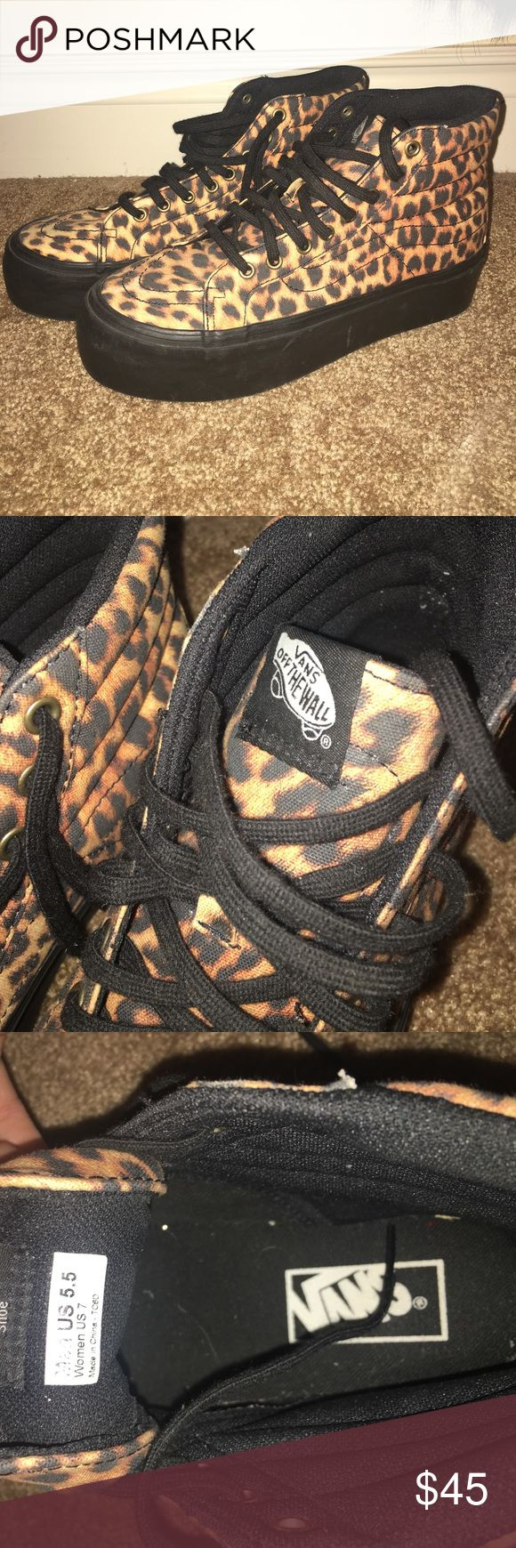 Leopard Vans This are in great condition! They are also platform shoes! Vans Shoes Sneakers