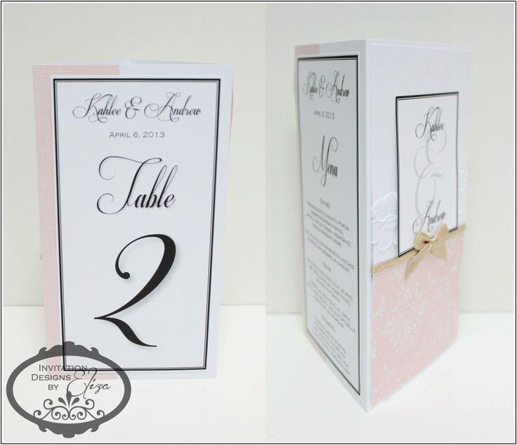 3 Sided Menus Designs {Wedding} Pink, White & Gold Theme www.facebook.com/InvitationDesignsByEliza