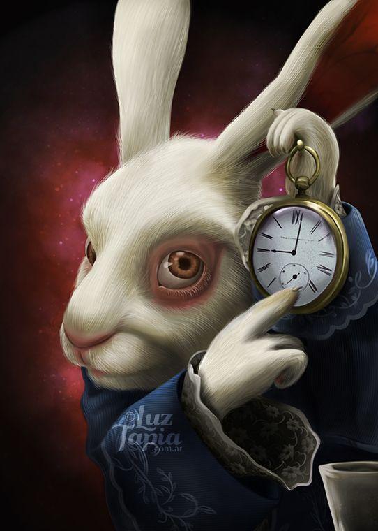 El conejo blancoIlustración digital (2012).The white rabbitDigital illustration (2012).