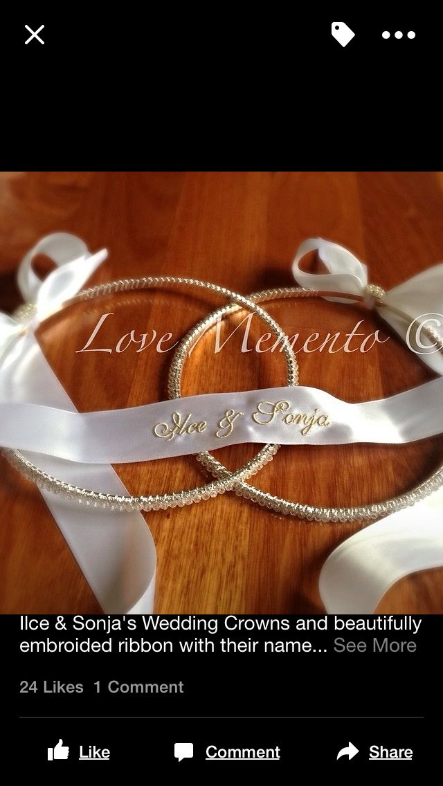 Wedding crown with ribbon