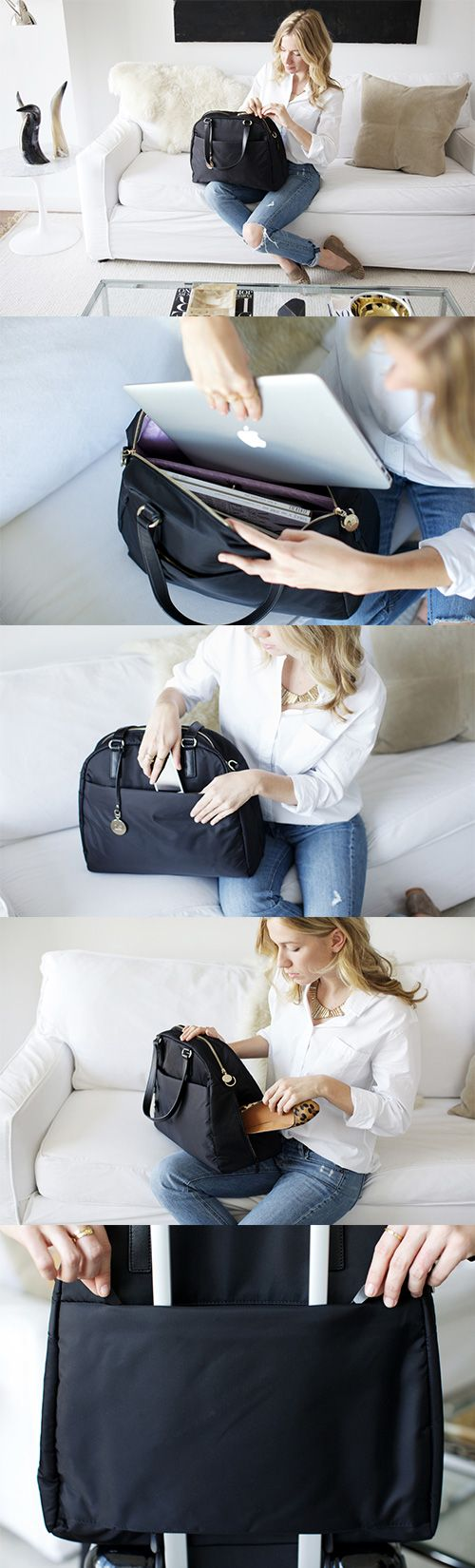 """The OMG"" - lightweight travel bag, tech friendly laptop tote, and stylish gym bag. Designed by Lo & Sons #loandsons"