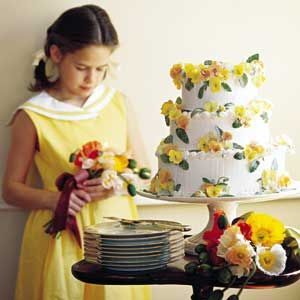 Pansy Wedding Cake ( YELLOW CAKE, PEACH FILLING, AND ALMOND CREAM CHEESE FROSTING | MyRecipes.com