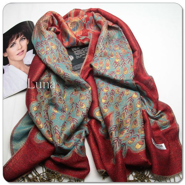 New 55%Cashmere Handmade Red Peacock Print Oblong Wraps Size:71*30inch #Handmade #ShawlWrap