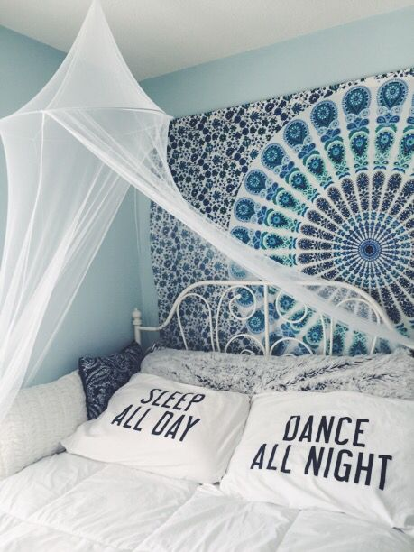 canopy: amazon tapestry: amazon pillow cases: amazon comforter: amazon body pillow: target throw pillows: target bed: ikea #bedroom #tumblr #boho #hipster