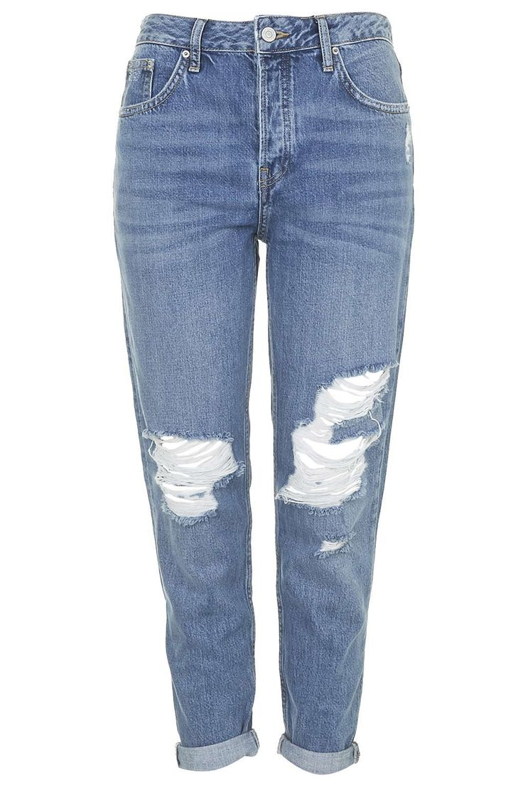 Moto Blue Ripped Hayden Jeans | TOPSHOP