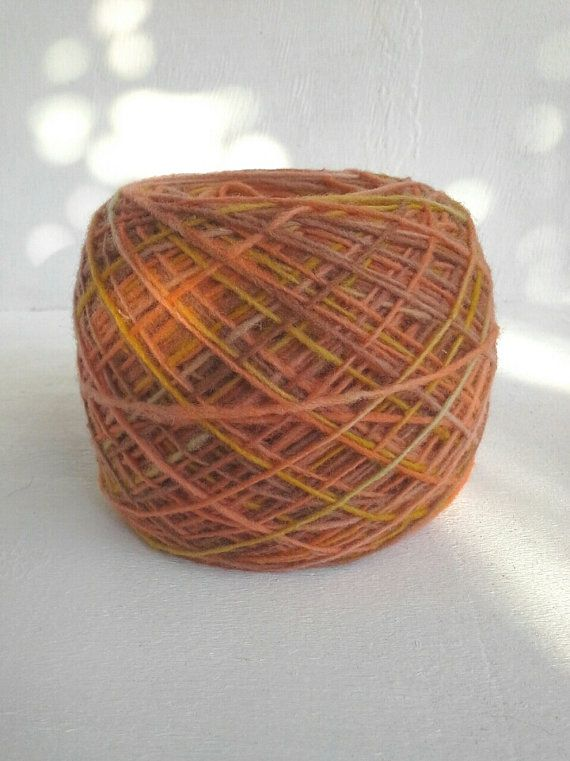 hand dyed yarn orange fingering yarn wool yarn by KoloroStudio