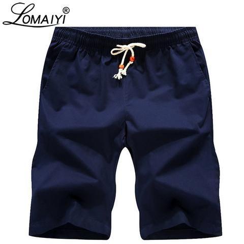 e8d27b2124 LOMAIYI Men's Casual Shorts Men Women Breathable Pure Cotton Boardshorts  Mens Slim Fit Beach Shorts Male Black Khaki Short BM065