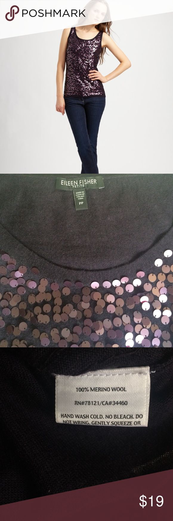 Eileen Fisher sequin tank top Beautiful sequin tank top by Eileen Fisher in merino wool. Flattering eggplant purple that looks great with almost any color pants or skirt. Excellent condition. Eileen Fisher Tops Tank Tops