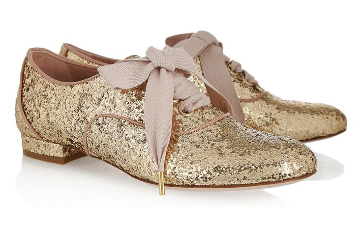 Gold Sparkle Wedding Shoes Flat Laceups. I have no idea why I like these so much!
