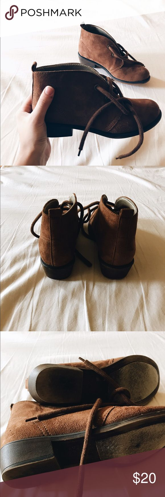 Brown camel suede ankle platform boots Minimal signs of wear, very soft suede material, stitching around back heels and towards the front. Thick shoelaces; slight heel, sturdy platform. These are seriously the cutest booties ever, I wish I could fit 😕 dirty laundry Shoes Ankle Boots & Booties