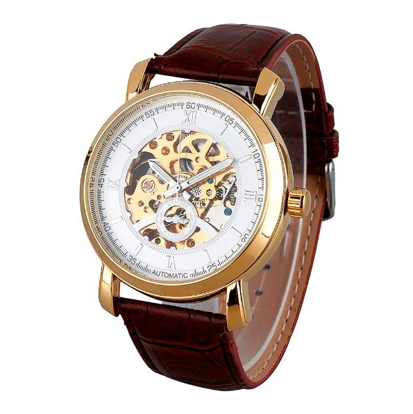 SLICK NATION Business Man Wristwatch With Skeleton Dial (Rose Gold / Brown…