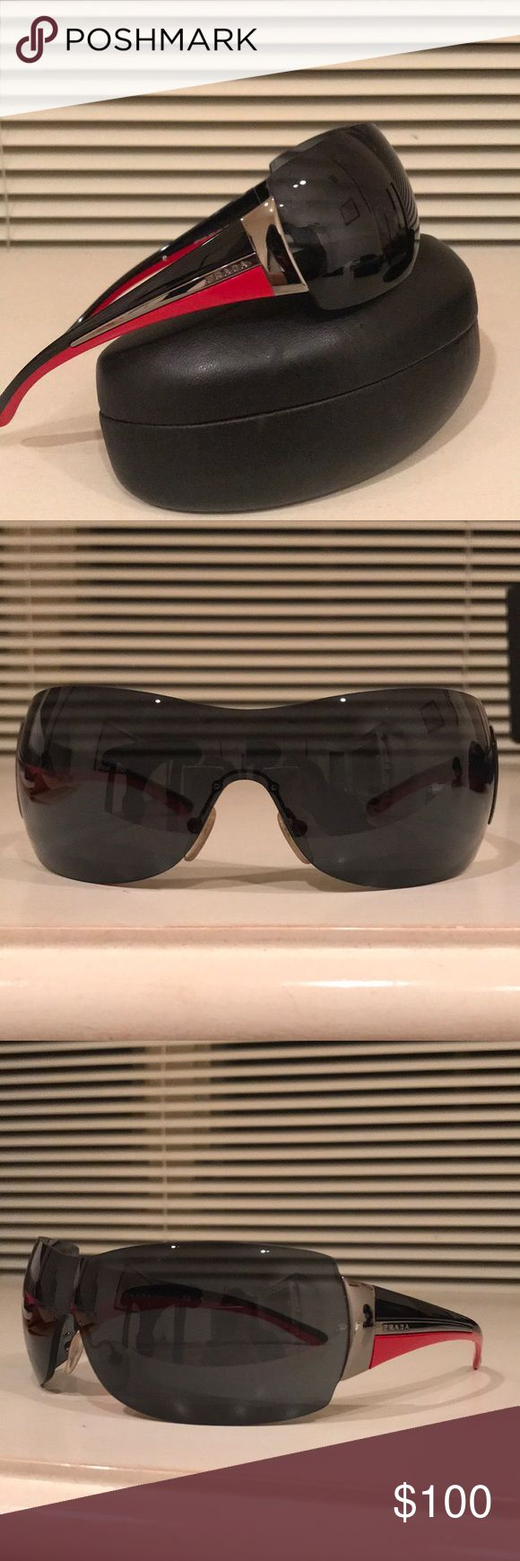 Sport Prada sunglasses Designer Prada sunglasses in mint condition (hardly worn) with original Prada leather case and cleaning cloth ✨  UV protection, dark lenses, protects peripheral vision as the lenses bend with your face.  Awesome pair of shades  Prada Accessories Sunglasses