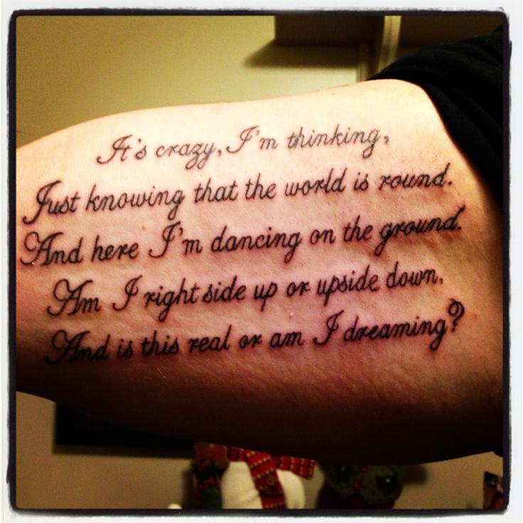 "Dave Matthews Band ""Crush"" Lyrics Tattoo, Inner Bicep"