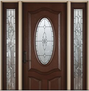 Architect Series Deluxe Oval 3 Panel Fiberglass Entry Door