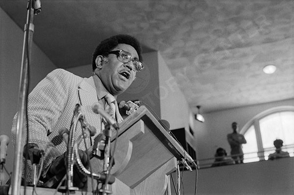 View of the Reverend Joseph Lowery, a civil rights leader and one of the founders of the Southern Christian Leadership Conference (SCLC), speaking at the 16th annual convention of SCLC in Indianapolis, Indiana.