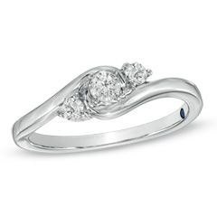 Cherished Promise Collection™ 1/4 CT. T.W. Diamond Three Stone Promise Ring in 10K White Gold