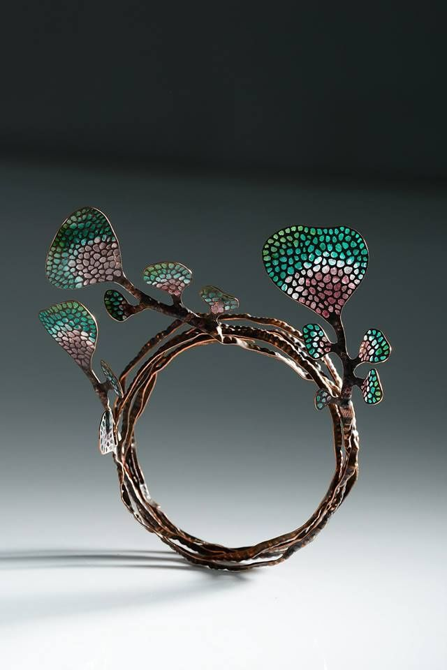 "Bracelet | Wu Ching Chin.   Leaf Series, 2013"".  Copper and plique-a-jour enamel"