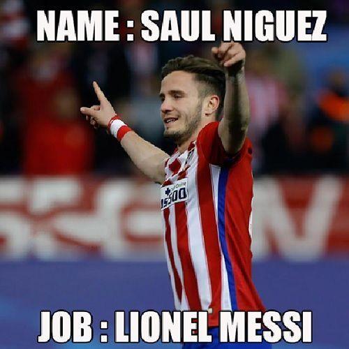 Nazywa się: Saul Niguez, Praca: Lionel Messi • Memy po meczu Atletico Madryt vs Bayern Monachium w Lidze Mistrzów • Niguez jak Messi >> #football #soccer #sports #pilkanozna