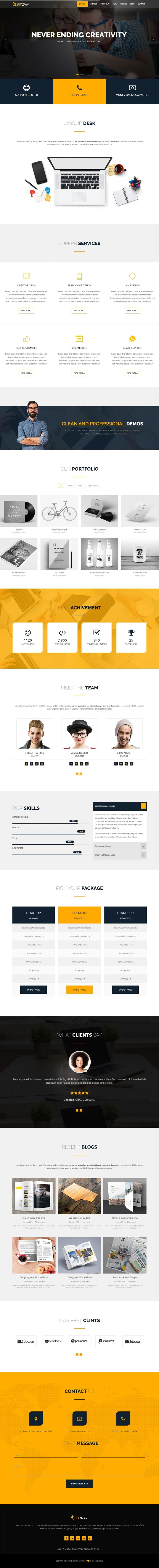 Leeway is fully responsive, creative, clean, and multipurpose onepage template with latest web design styles. It has 10+ stunning homepage layouts. Demo #startup #website