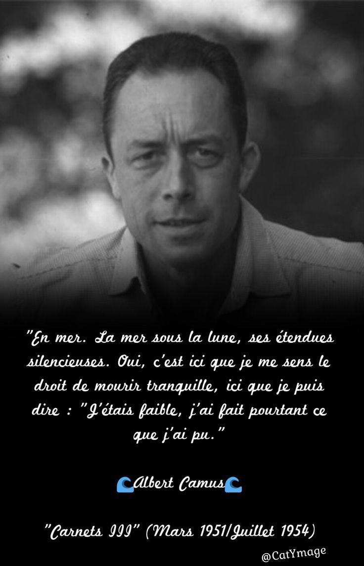 """""""En mer. La mer sous la lune, ses étendues silencieuses. Oui, c'est ici que je me sens le droit de mourir tranquille, ici que je puis dire : """"J'étais faible, j'ai fait pourtant ce que j'ai pu.""""  Albert Camus  """"Carnets III"""" (Mars 1951/Juillet 1954)"""