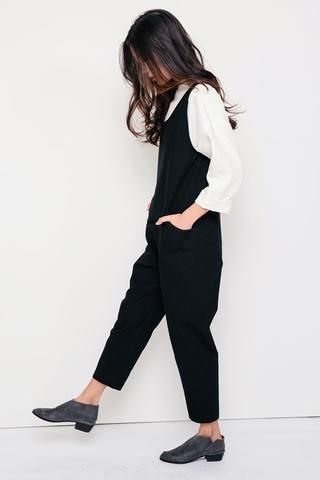 Clyde Jumpsuit in Cotton Canvas Black