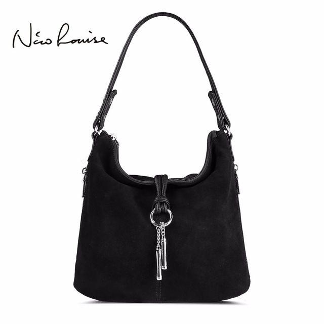 Amazing Deal $32.99, Buy 2017 Fashion Women Split Leather Shoulder Bag Female Suede Casual Crossbody handbag Casual Lady Messenger Hobo Top-handle Bags