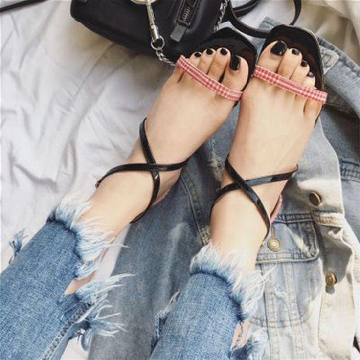 >> Click to Buy << British Grid Cloth Sandals Summer Crosse-tied Ankle Buckle Sandali Peep Toe Narrow Band High Heels Chaussures Sexy Woman Sandals #Affiliate