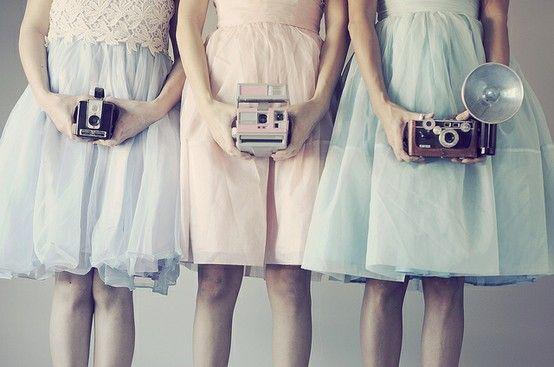 vintage pastel dress - cameras