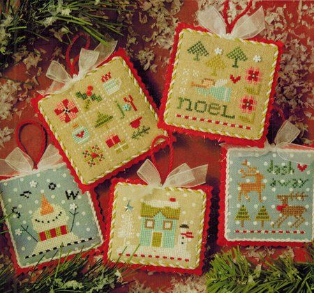 Lizzie Kate Tiny Tidings XX - Cross Stitch Pattern. Noel stitched on 30 Ct. Natural Linen 40x40. Snow stitched on 32 Ct. Blue Petite Dot Belfast Linen 40x40, Sn