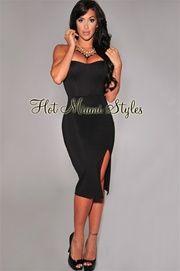 Black Slit Strapless Padded Midi Dress $80