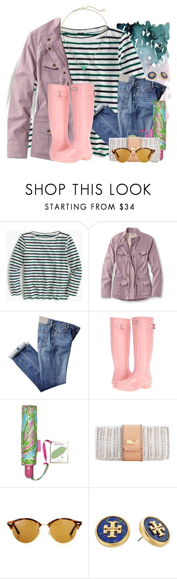 """It has been raining here every day this week"" by flroasburn ❤ liked on Polyvore featuring J.Crew, L.L.Bean, Hunter, Lilly Pulitzer, Ray-Ban, Tory Burch, Kendra Scott and plus size clothing"