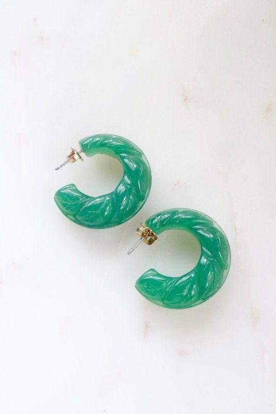 34510518b37c3 Vintage Avon Green Lucite Hoop Earrings in 2019 | Jewellery ...