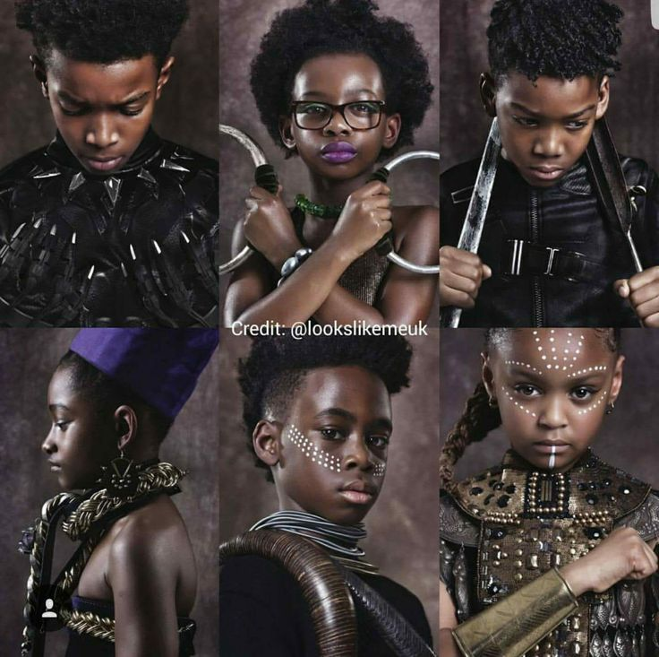Adorable kids cosplaying as the characters from Black Panther.